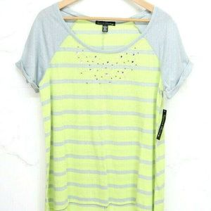 NWT French Laundry Womens SS t-shirt Green/Gray